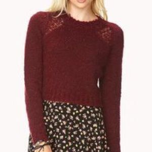 NWT FOREVER 21 EXCLUSIVE WINE CHENILLE SWEATER